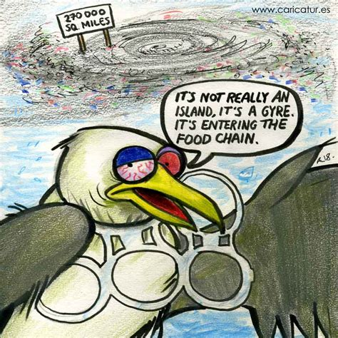 Great Pacific Garbage Patch Plastic Pollution Cartoon by