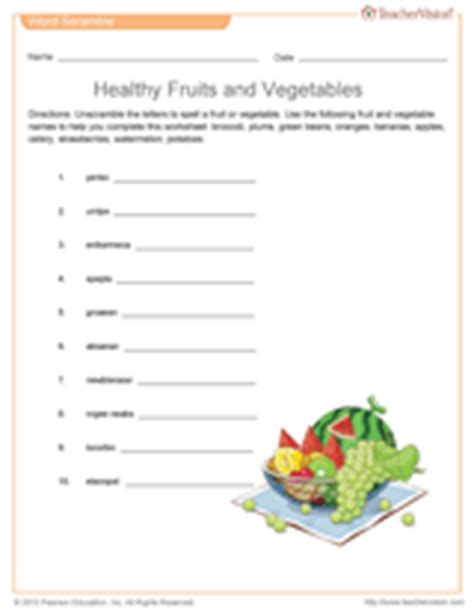 Healthy Vegetables and Fruits Word Scramble Printable (1st