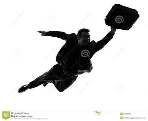 Business Super Man Flying Silhouette Stock Image - Image