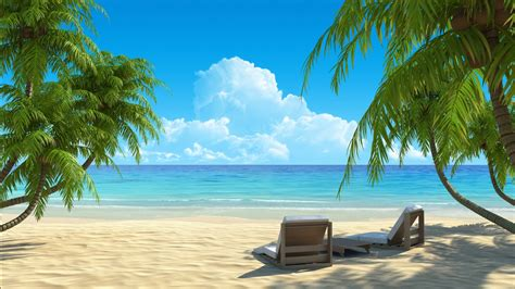 Beach Relaxing Chair On Sand With Palm Trees Each Side HD