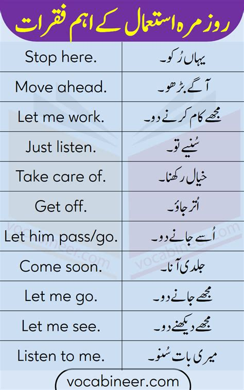 Imperative Sentences Examples with Urdu and Hindi