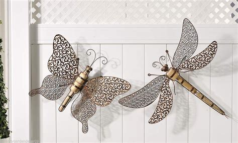 """Set of 2 - 29"""" Dragonfly & 20"""" Butterfly Wall Plaques"""