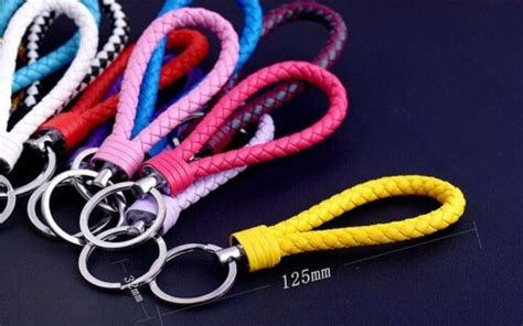 Details about Braided Faux Leather Strap Keyring Keychain