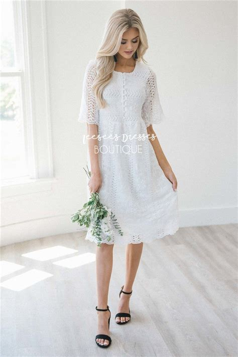 Beautiful White Lace Modest Dress   Modest Dress for