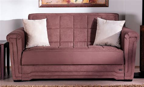 Truffle Microfiber Contemporary Pull Out Bed Loveseat