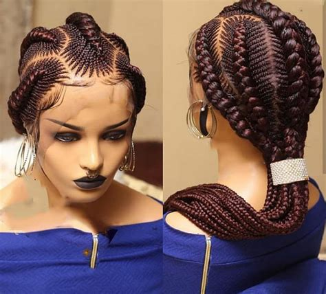 Full Lace Stitch braided wig handmade on full lace Human