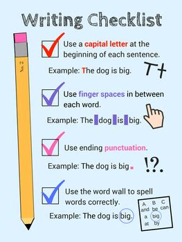 Writing Checklist Anchor Chart Poster by BrainStormers | TpT