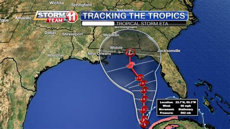 Tropical Storm Eta will strengthen later today