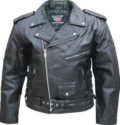 Allstate Mens Classic Black Leather Motorcycle Jacket Side