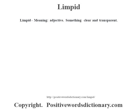 Limpid definition   Limpid meaning - Positive Words Dictionary