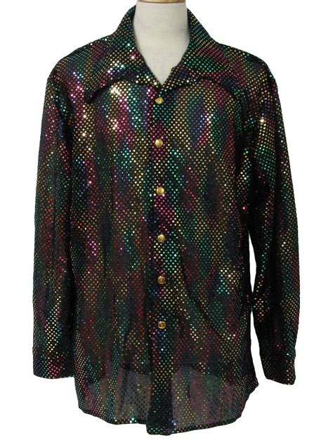 Vintage 70s Print Disco Shirt: 70s style (made recently